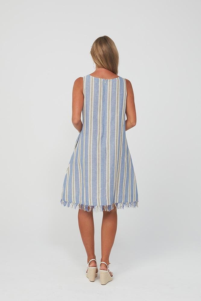 AMY Dress | Blue Stripe