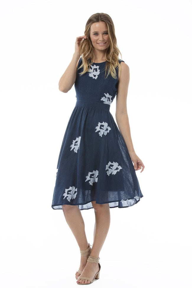 BERNADETTE Dress Straight Hem - Navy