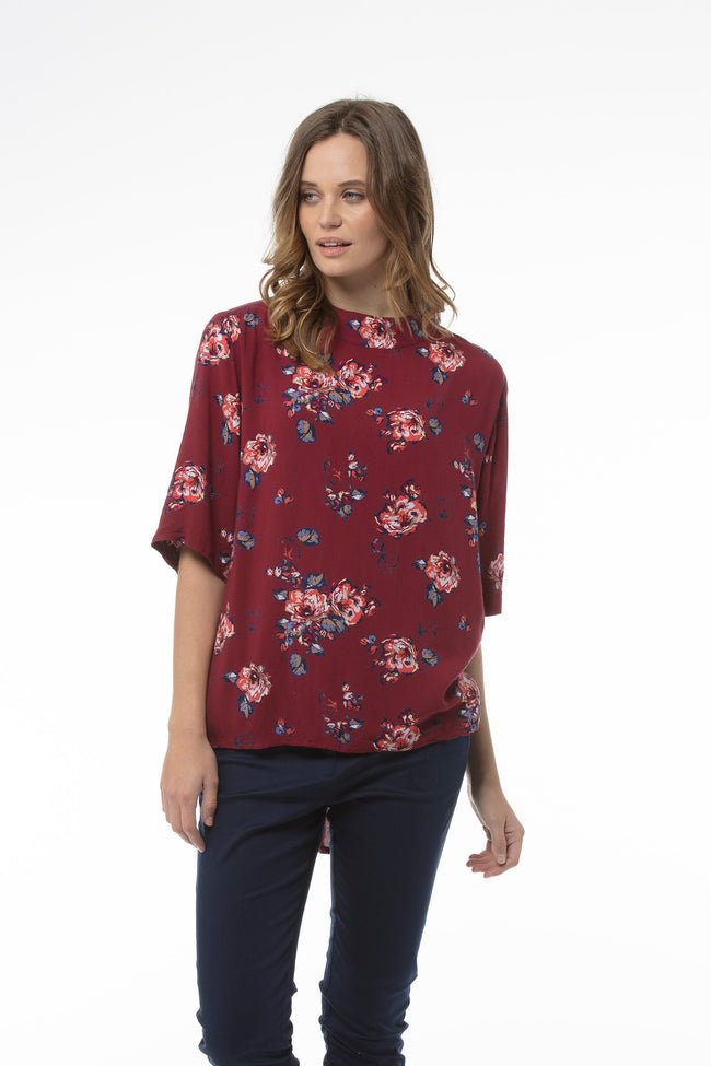 cathryn-top-red-print
