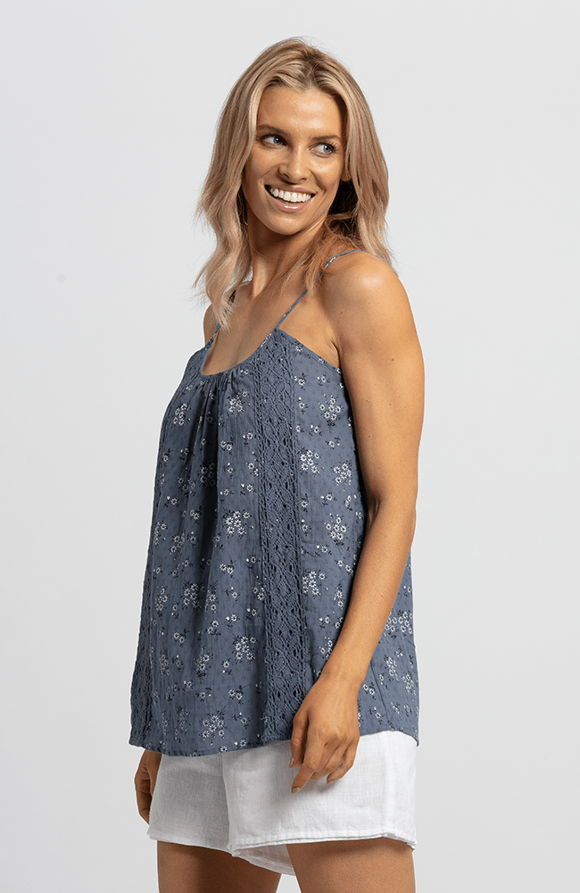 CLAIRE Top - Blue Floral