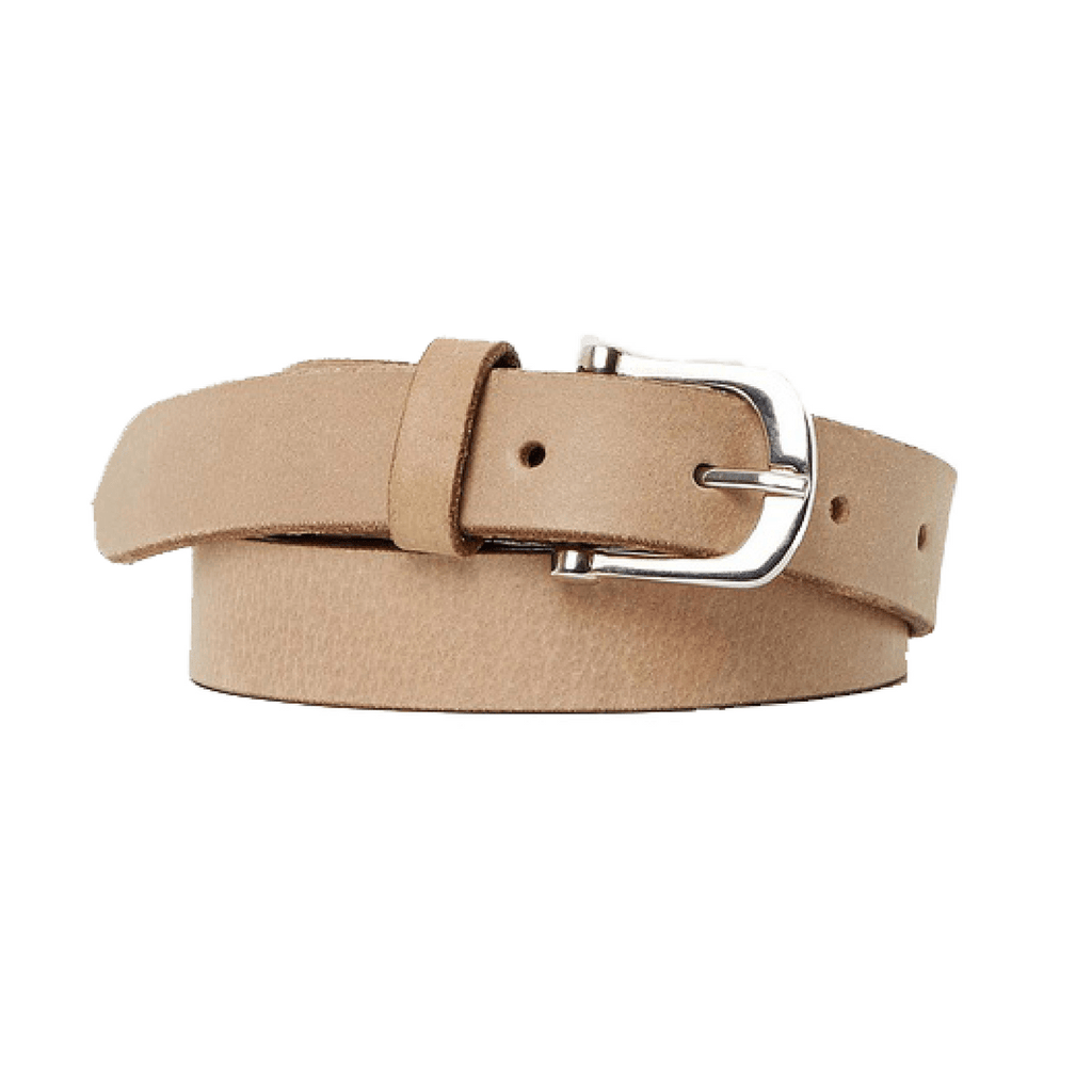 DENVER - Leather Belt - Beige