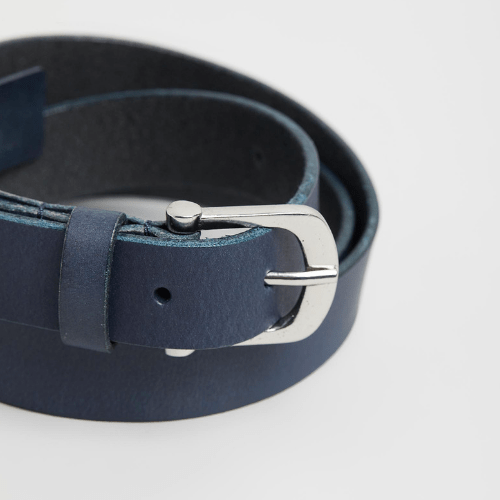 DENVER - Leather Belt - Navy