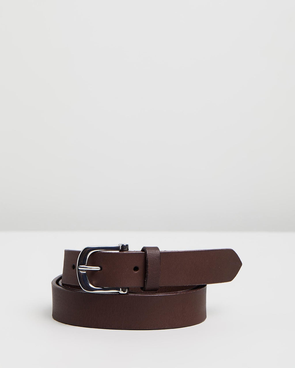 DENVER - Leather Belt - Dark Brown