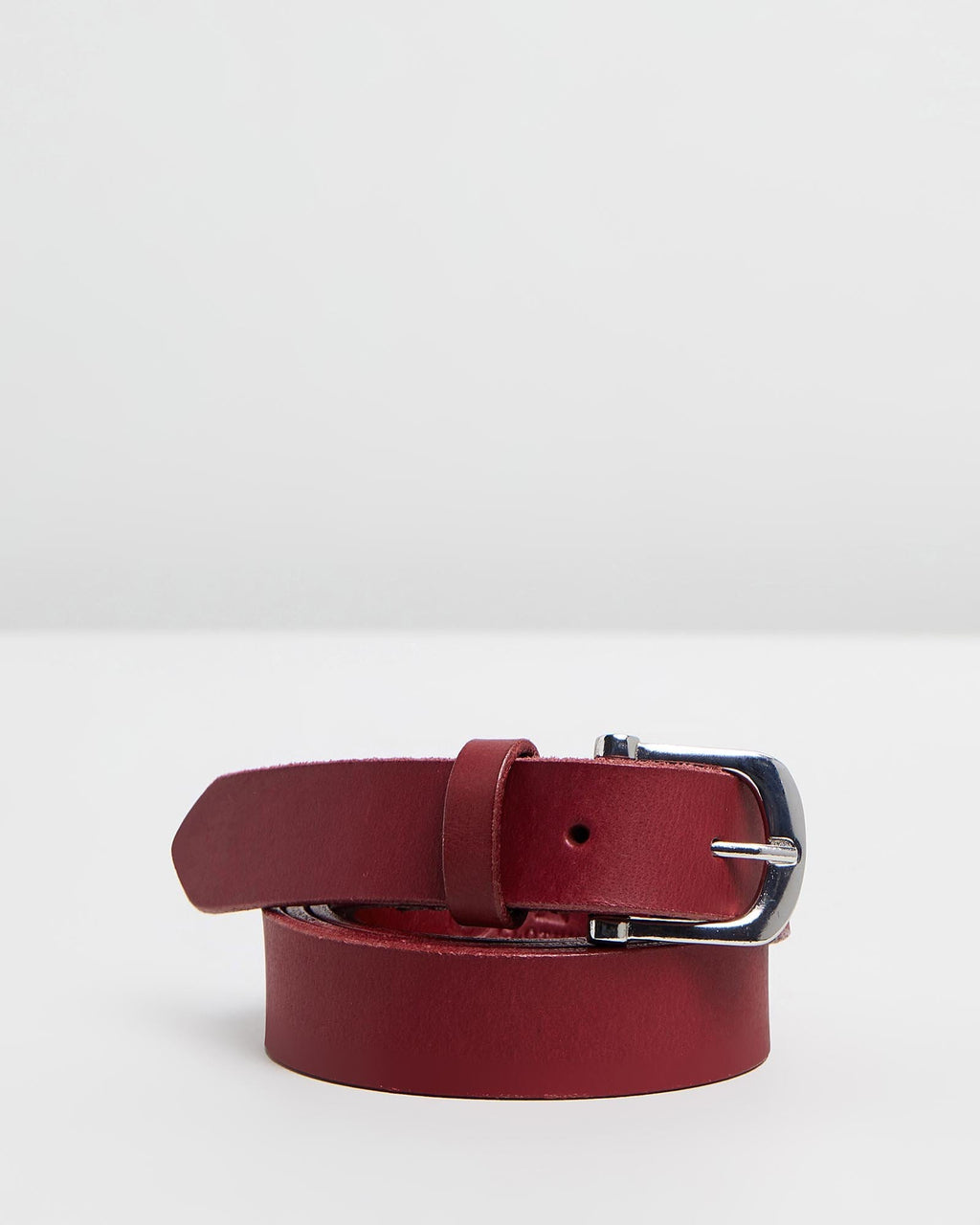 DENVER - Leather Belt - Dark Red