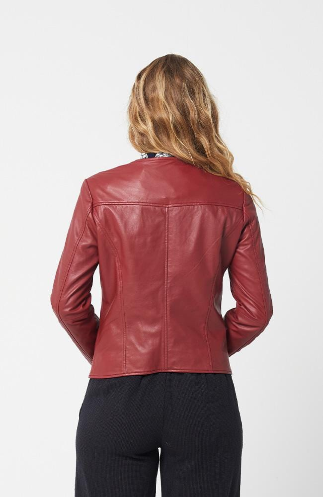 GIA Leather Jacket - Dark Red