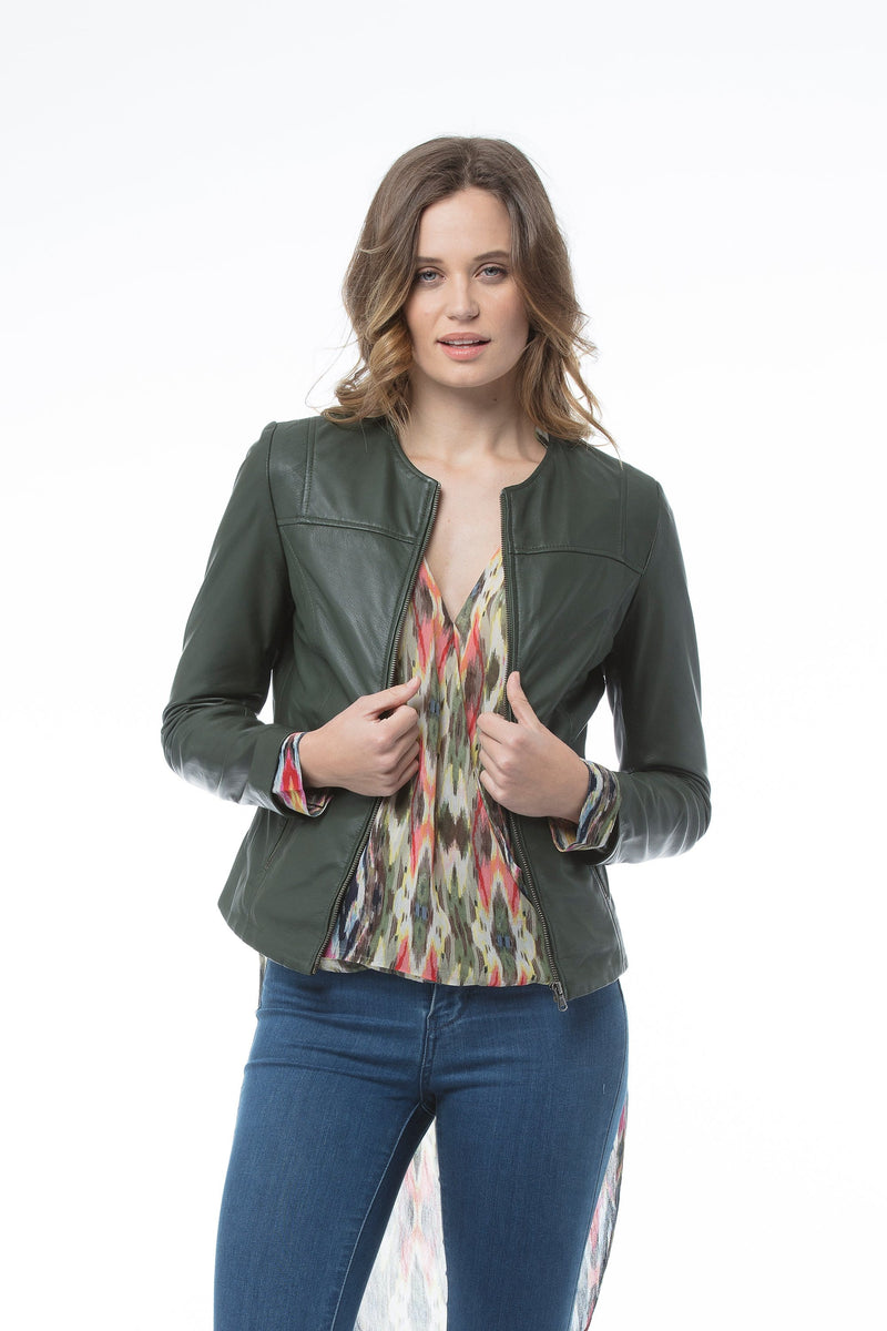GIA Leather Jacket - Forest Green