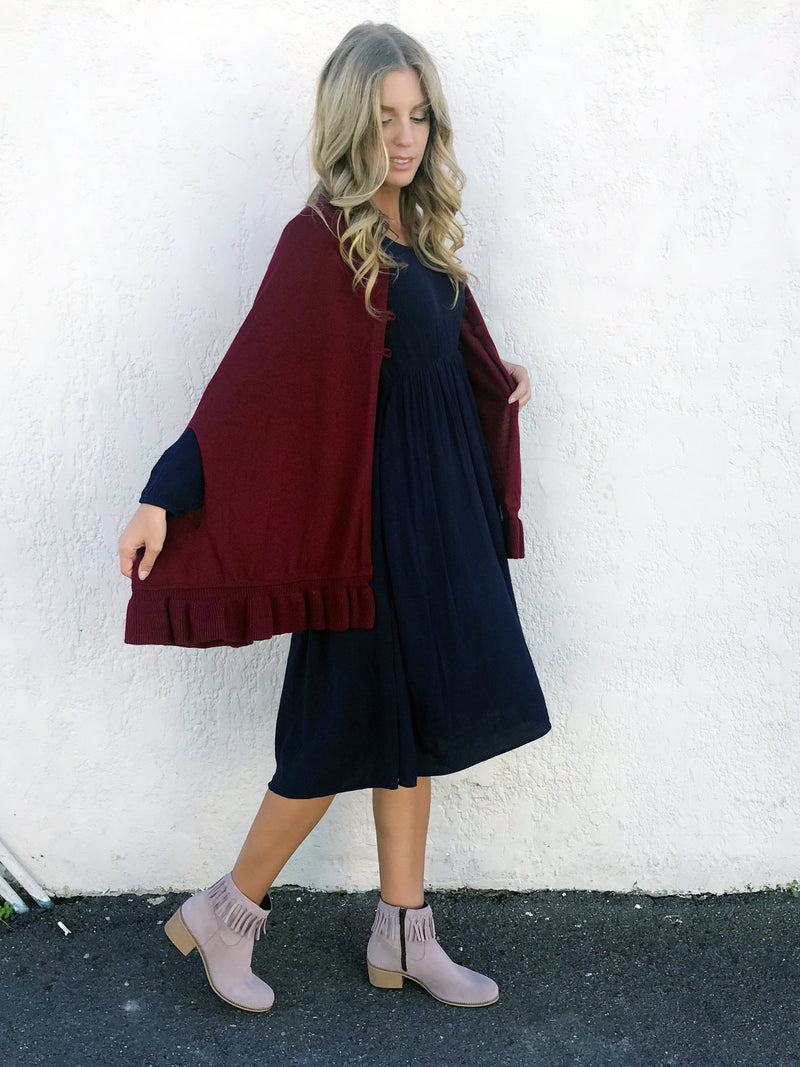 JANICE Poncho Cape - Dark Red