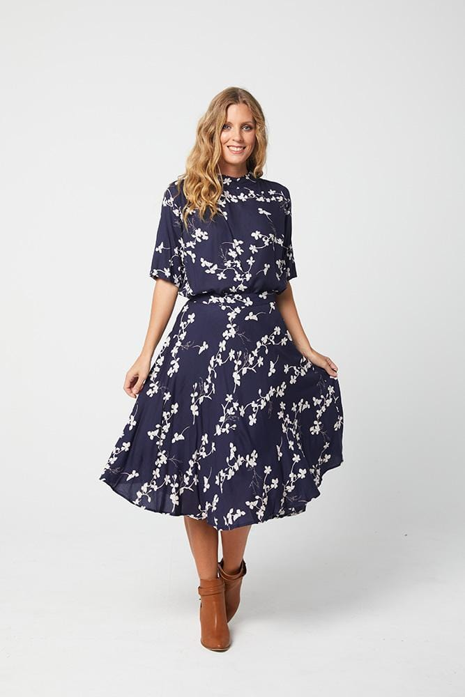 CATHRYN Top - Navy Print