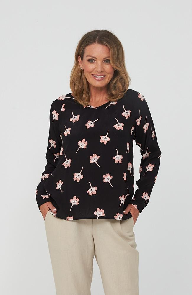 MIKA Top in Black Floral Print