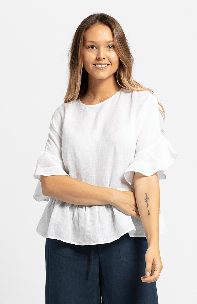MONA Top in Linen/Cotton - White