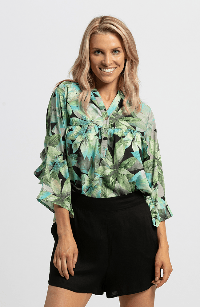 OLIVE Top - Green Print