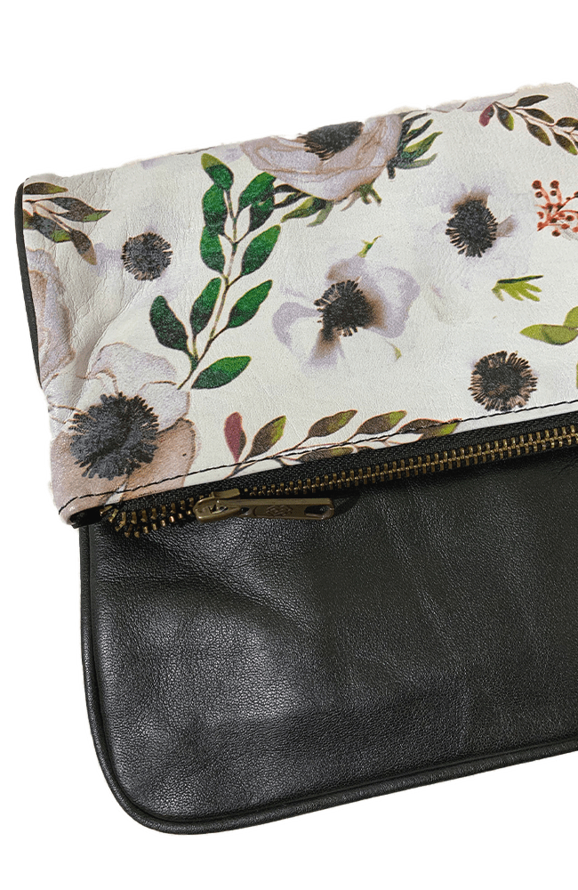 PARIS - Leather Clutch | Floral/Black