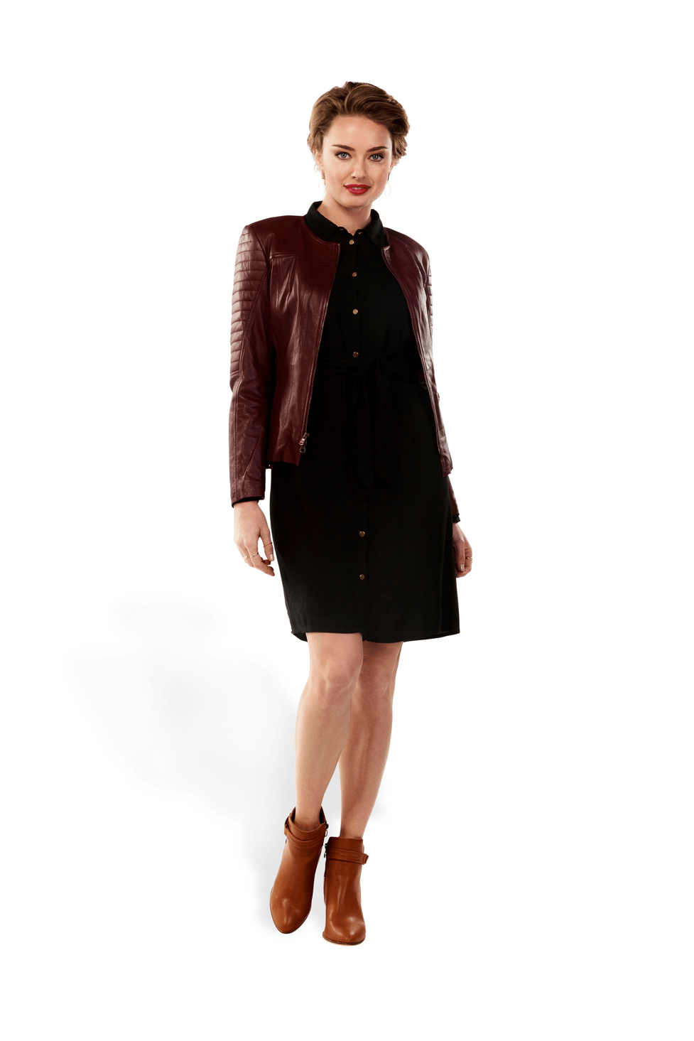 PARIS Leather Jacket -Merlot