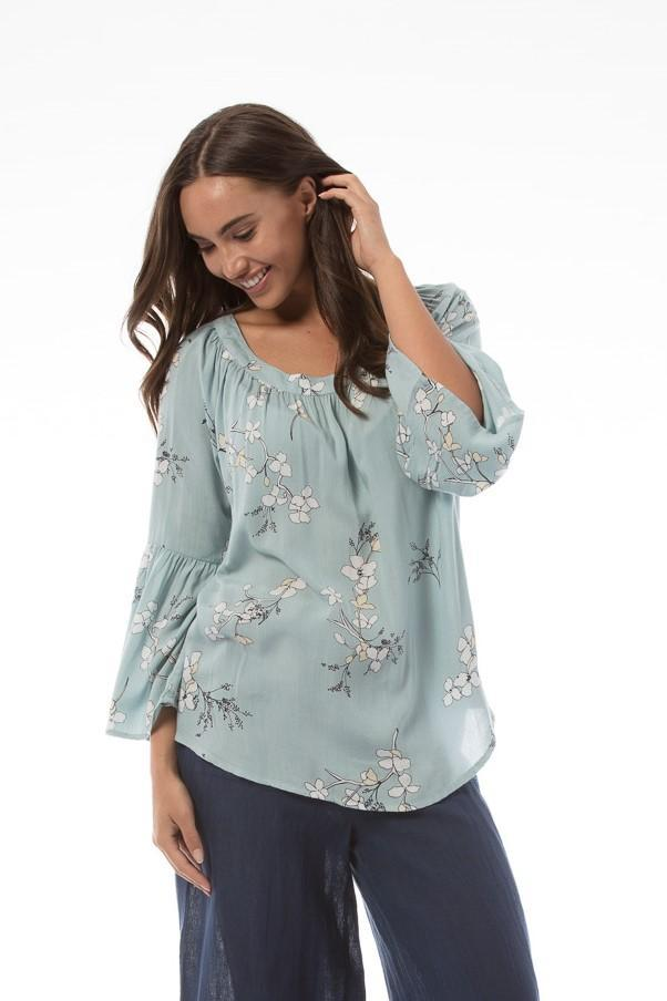 PEONY Top - Blue floral
