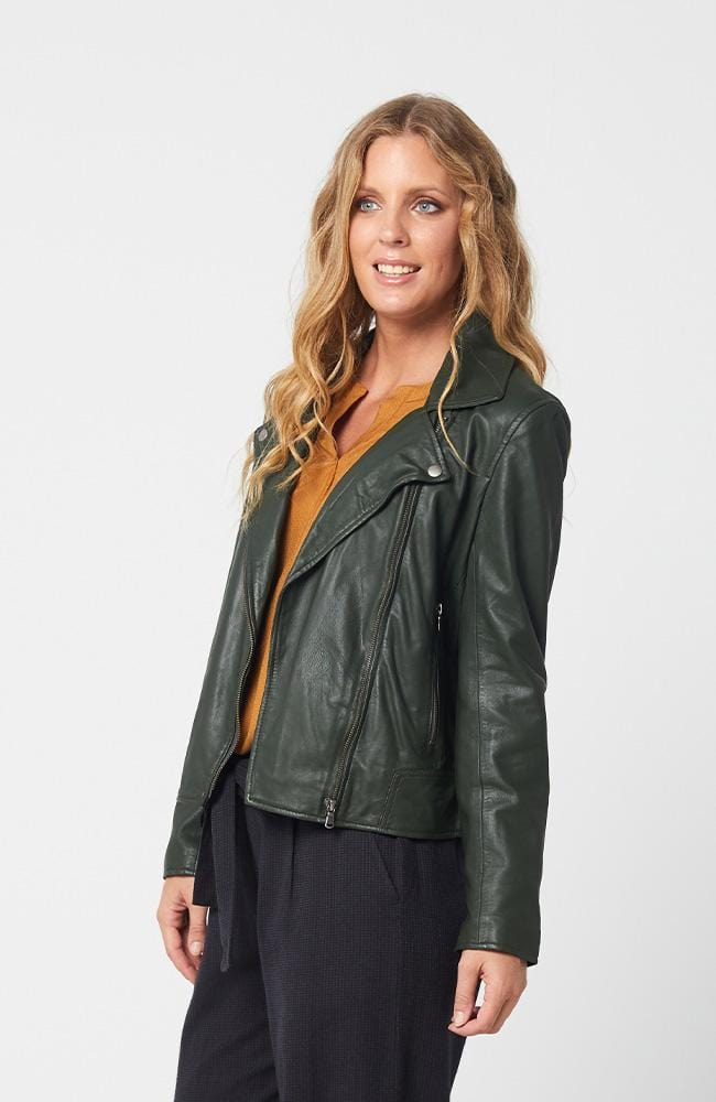 PORTIA Leather Jacket - Forest Green