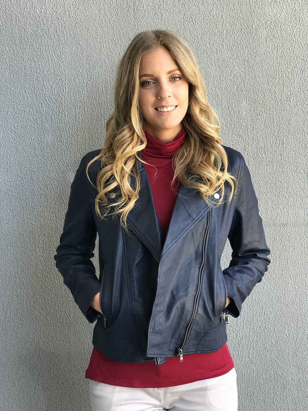 PORTIA Leather Jacket - Navy