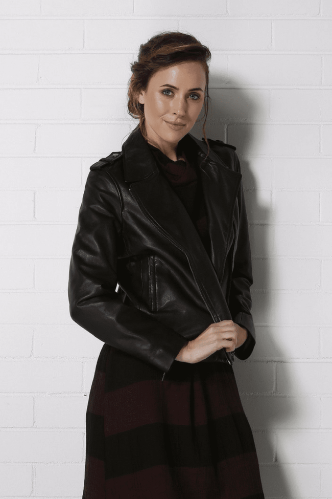 PORTIA Leather Jacket - Black