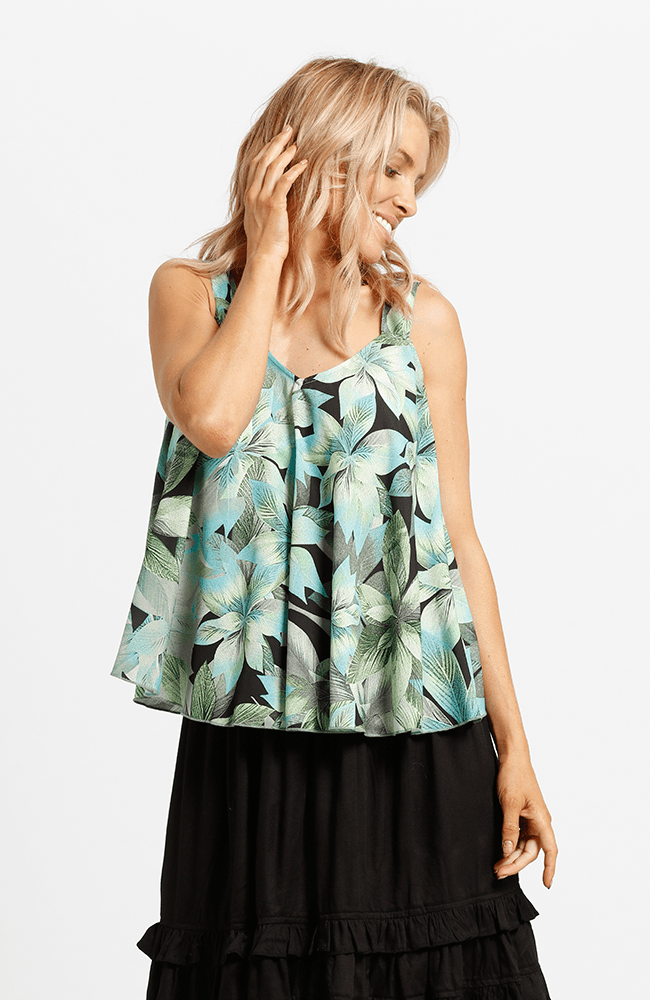ROXANNE Top - Green Print