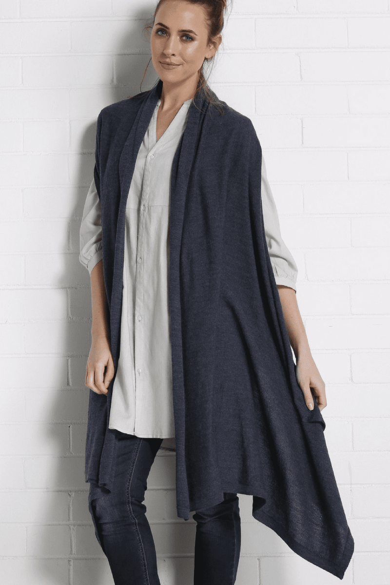 SANCHA Long Poncho Vest - Navy