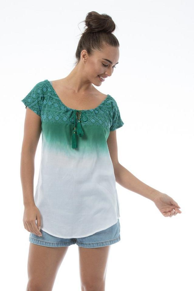 SASHA Top - Green/white