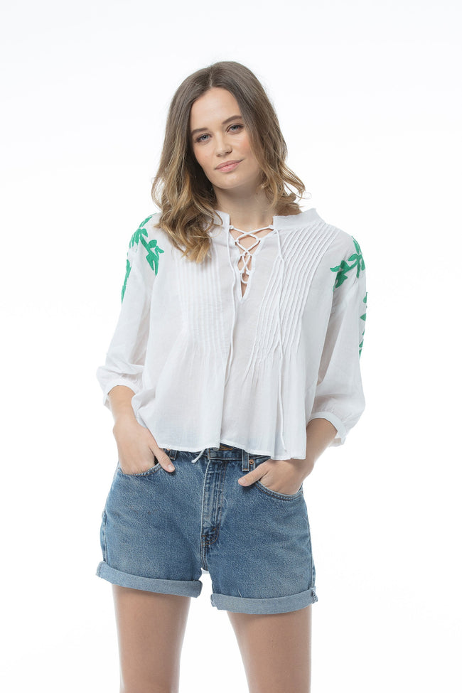 TATIANA Top - White/green