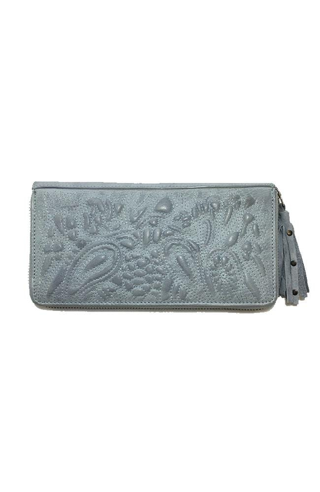 TAYLOR - Leather Clutch - Light Blue