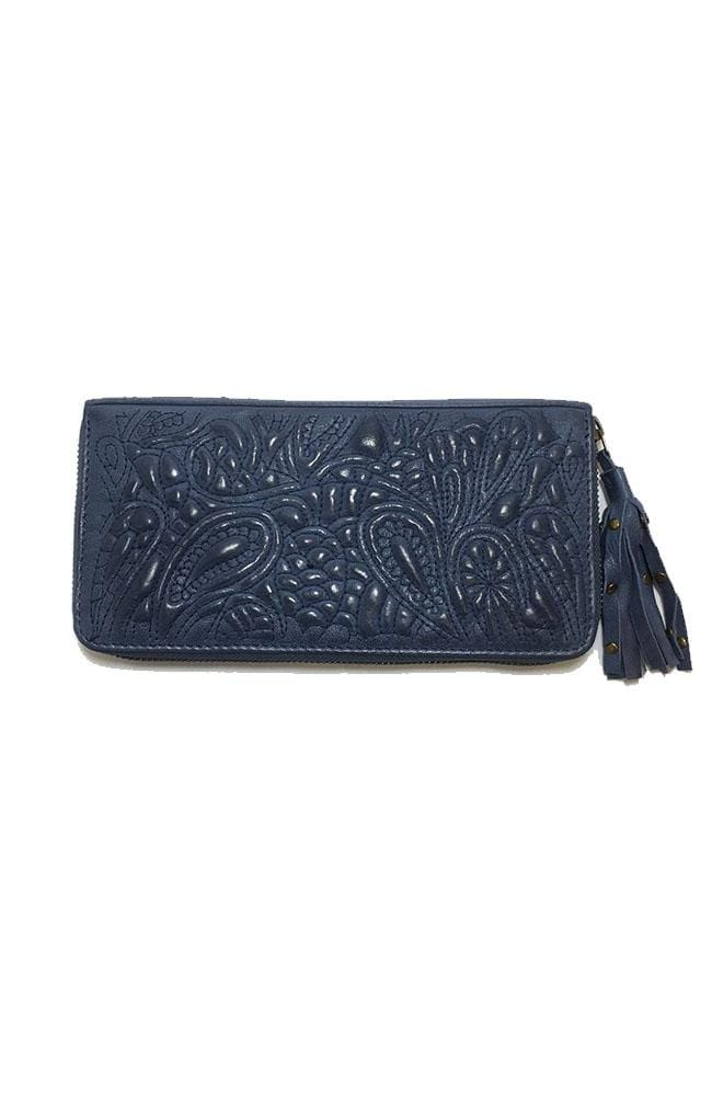 TAYLOR - Leather Clutch -Navy