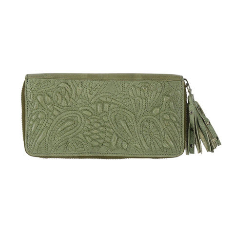 TAYLOR - Leather Clutch Olive