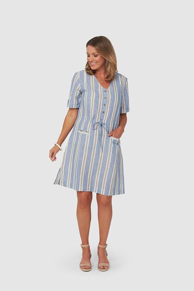 YARA Dress | Blue Stripe