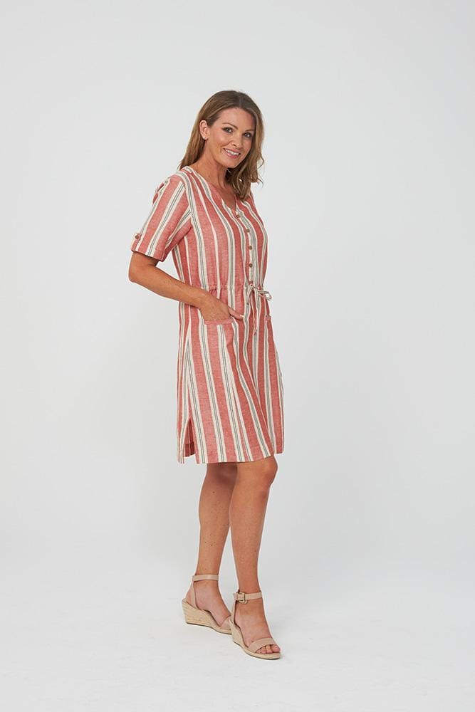 YARA Dress | Red Stripe