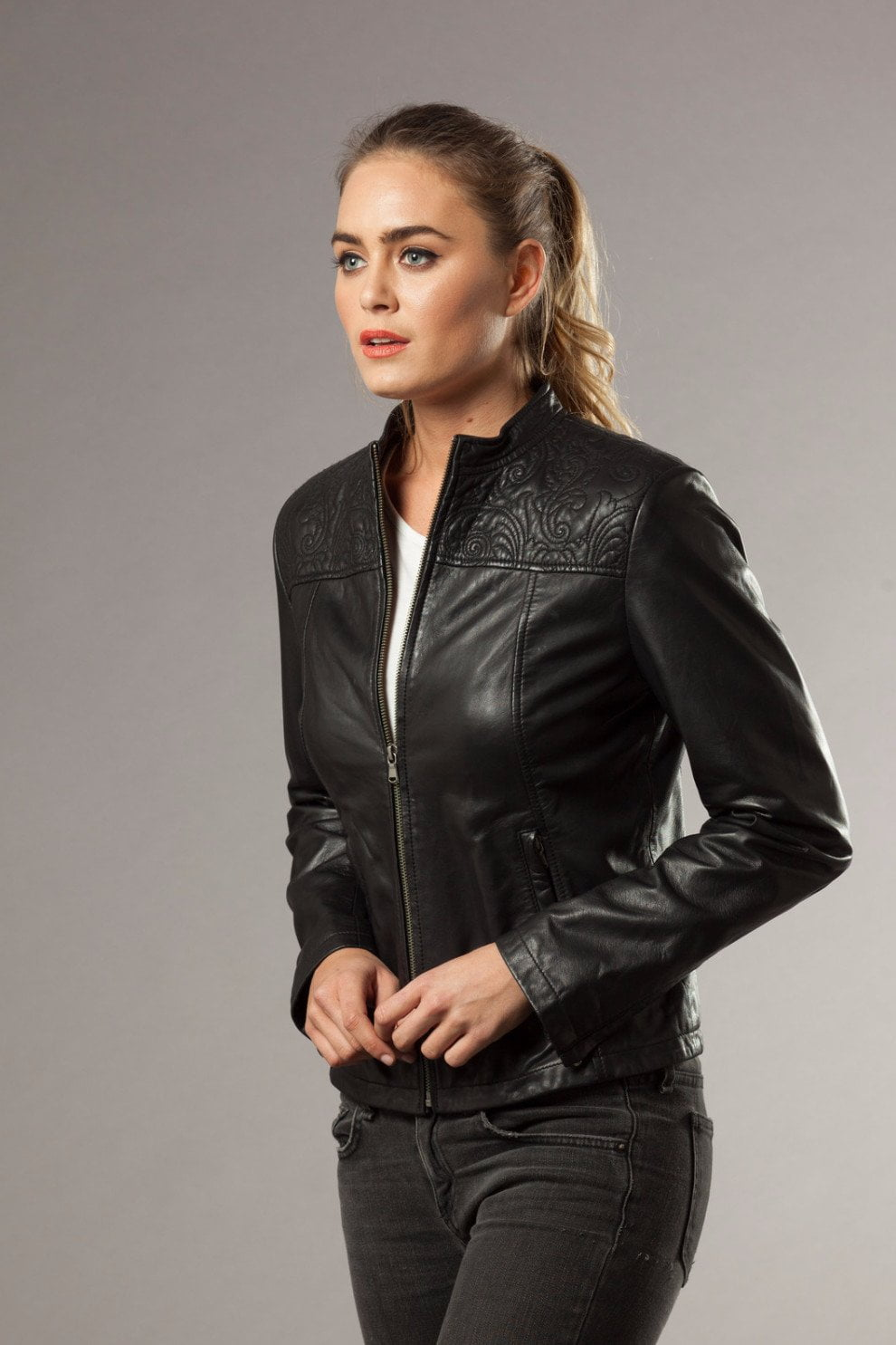 JESSICA - Leather Jacket in Black