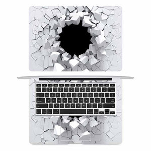 3D Cracked Wall Laptop Skin for Apple Macbook Air Pro Retina 11 12 13 15 inch Mac