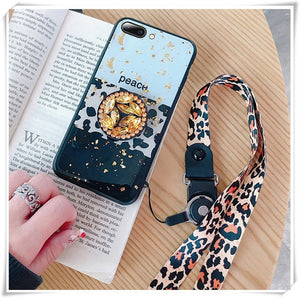 Luxury Leopard Skin Glitter Rhinestone Plush Lanyard Case For Samsung Galaxy S10 Plus S8 S8plus S9 S9plus Note 8 9 Fashion Case