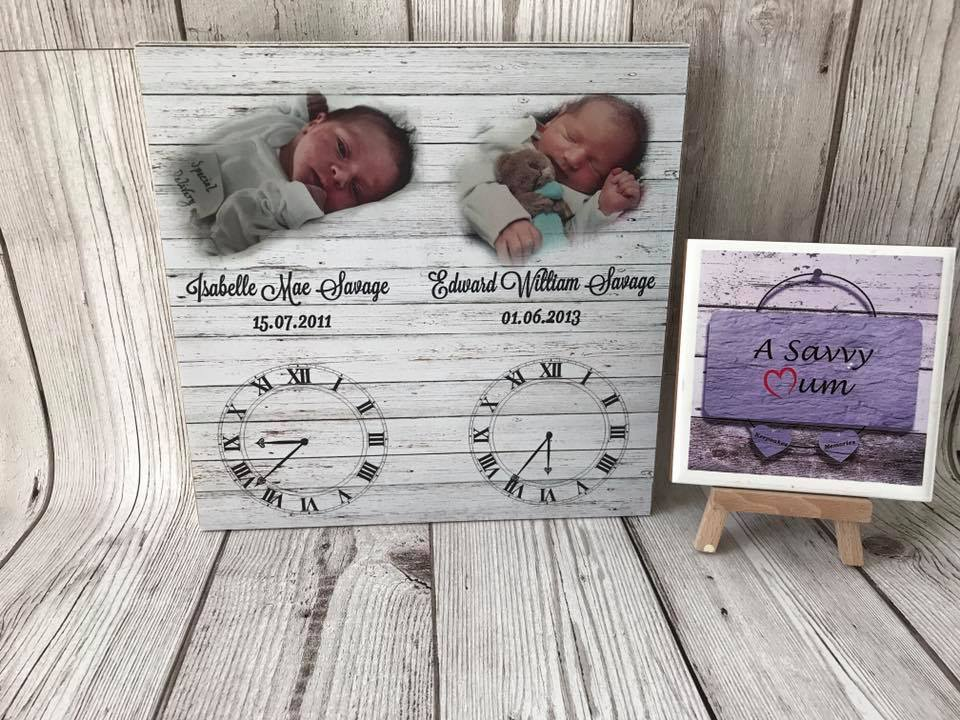 Freestanding Clock Photo Plaques