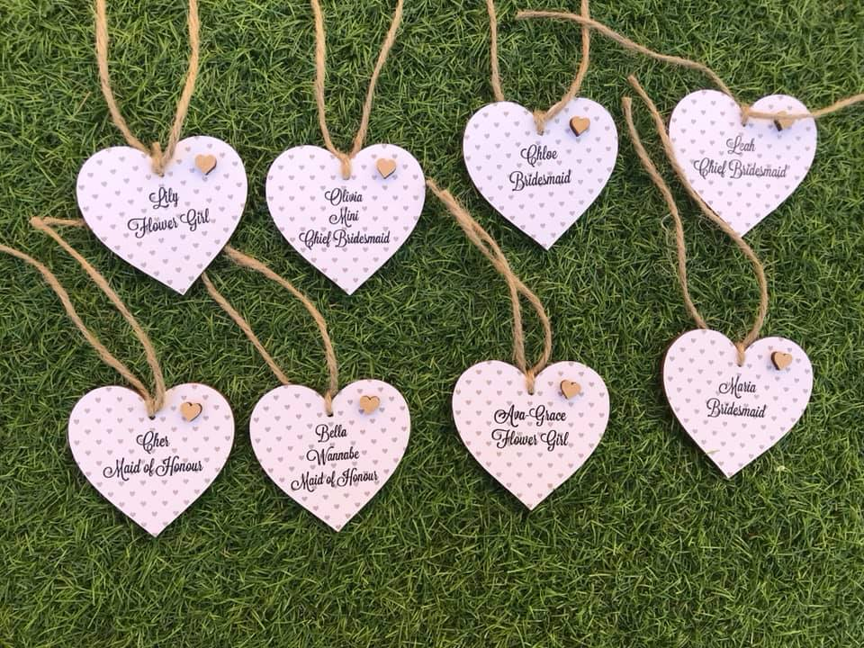 Personalised Mini Flowergirl/Bridesmaid Hanging Hearts