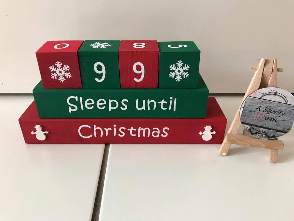 Sleeps Until Christmas Wooden Countdown Blocks
