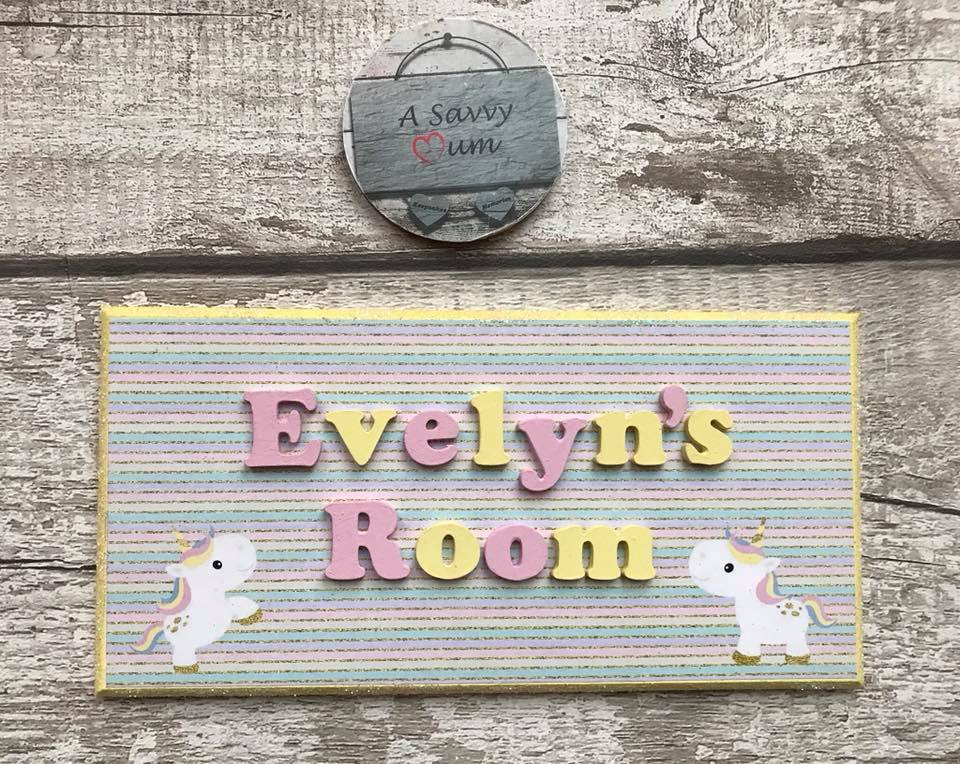 Cute Rainbow Unicorn Door Plaque