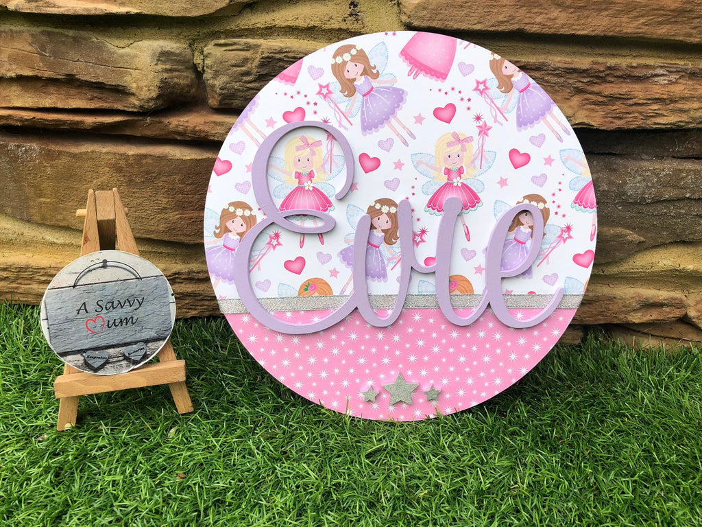 Fairy Bedroom Door Sign (Circular)