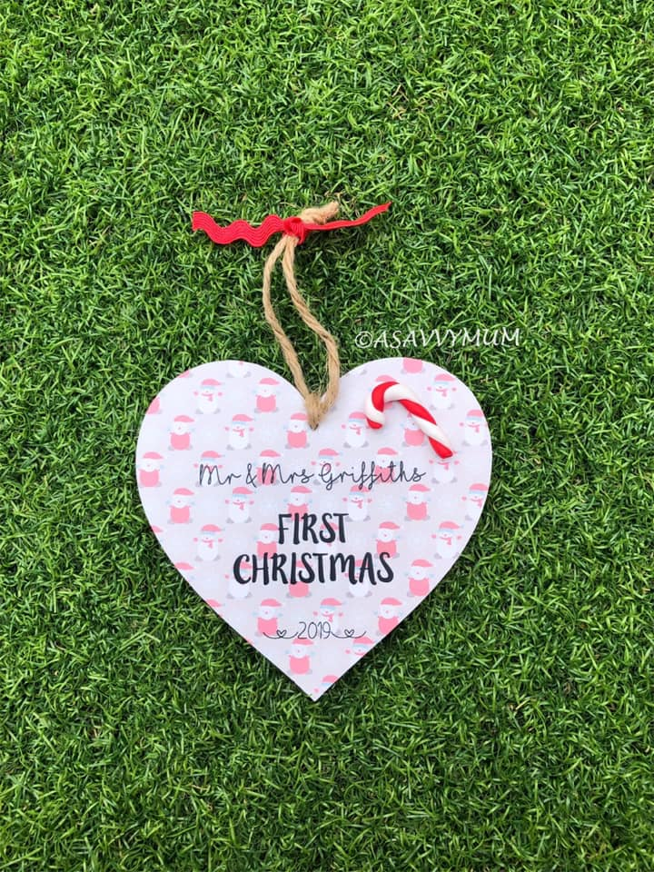 First Christmas as Mr & Mrs Hanging Heart