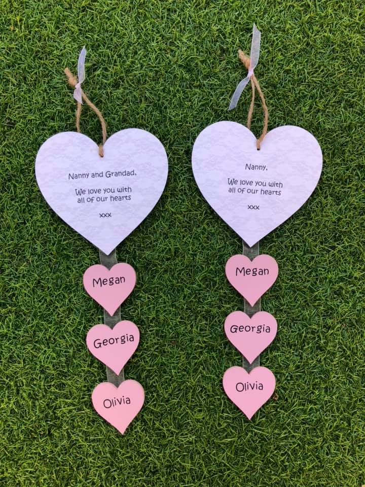 Personalised Nan/Nanny/Mum Hanging Heart