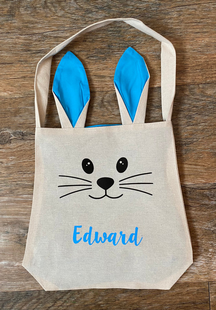 Personalised Easter Bunny Bags With Ears (Blue version)