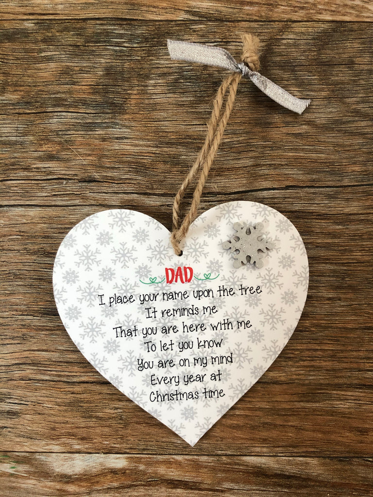 Festive Remembrance Hanging Heart Tree Decoration