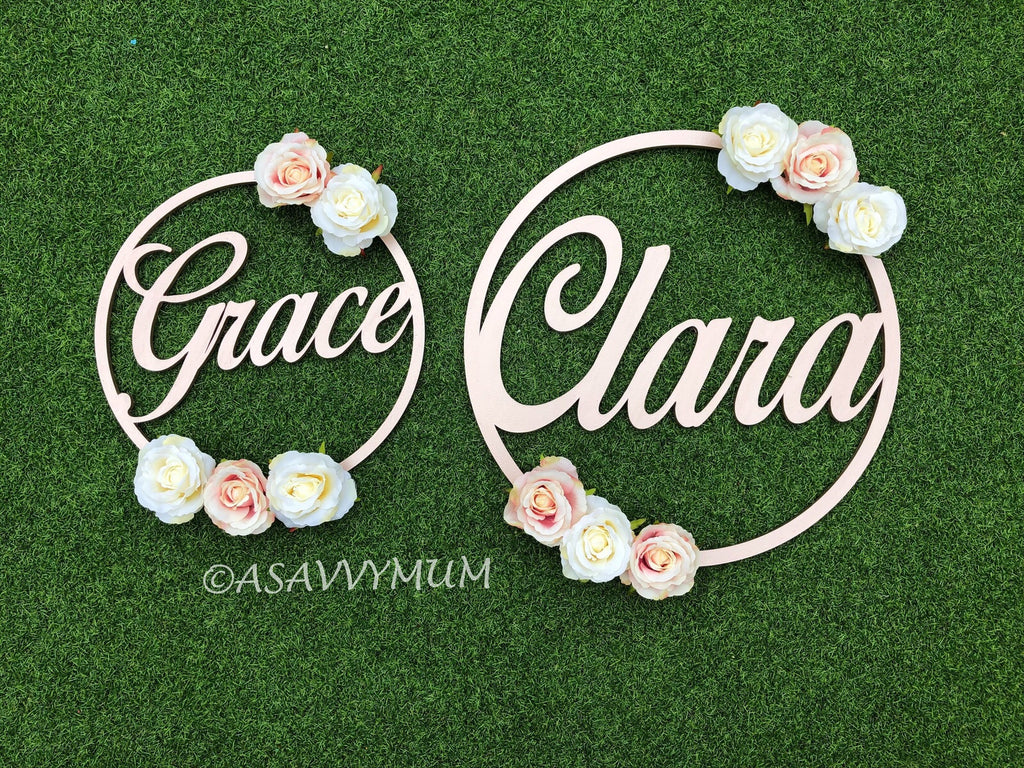 Personalised Floral Wreath Hoop (30/40cm)