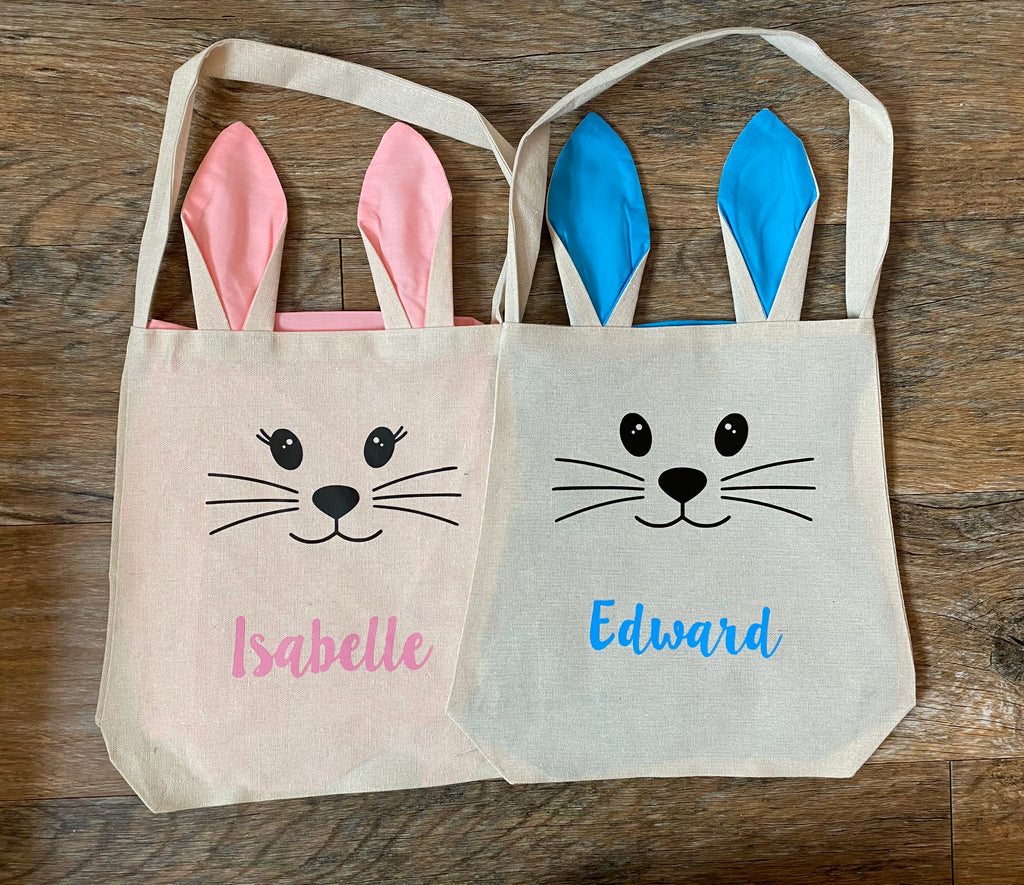 Personalised Easter Bunny Bags With Ears (Pink version)