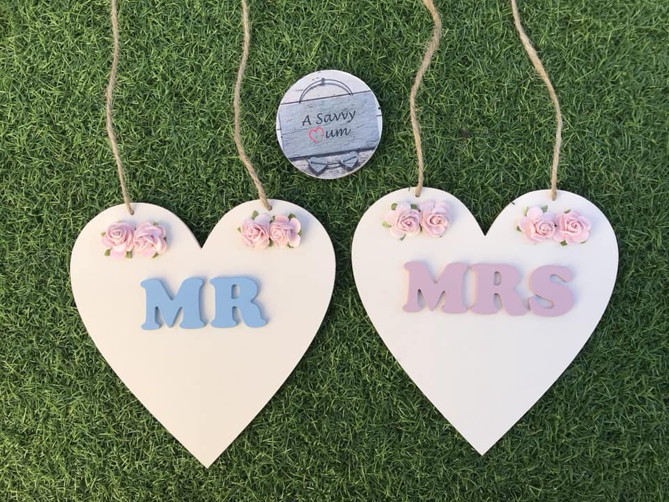 Mr and Mrs Wedding Hearts