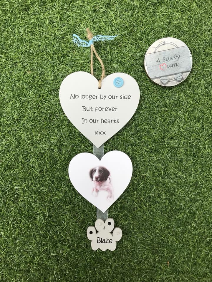 Personalised Pet Hanging Memorial Hearts