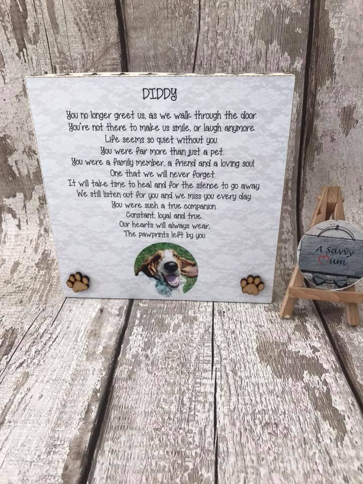 Freestanding Pet Memorial Photo Plaque