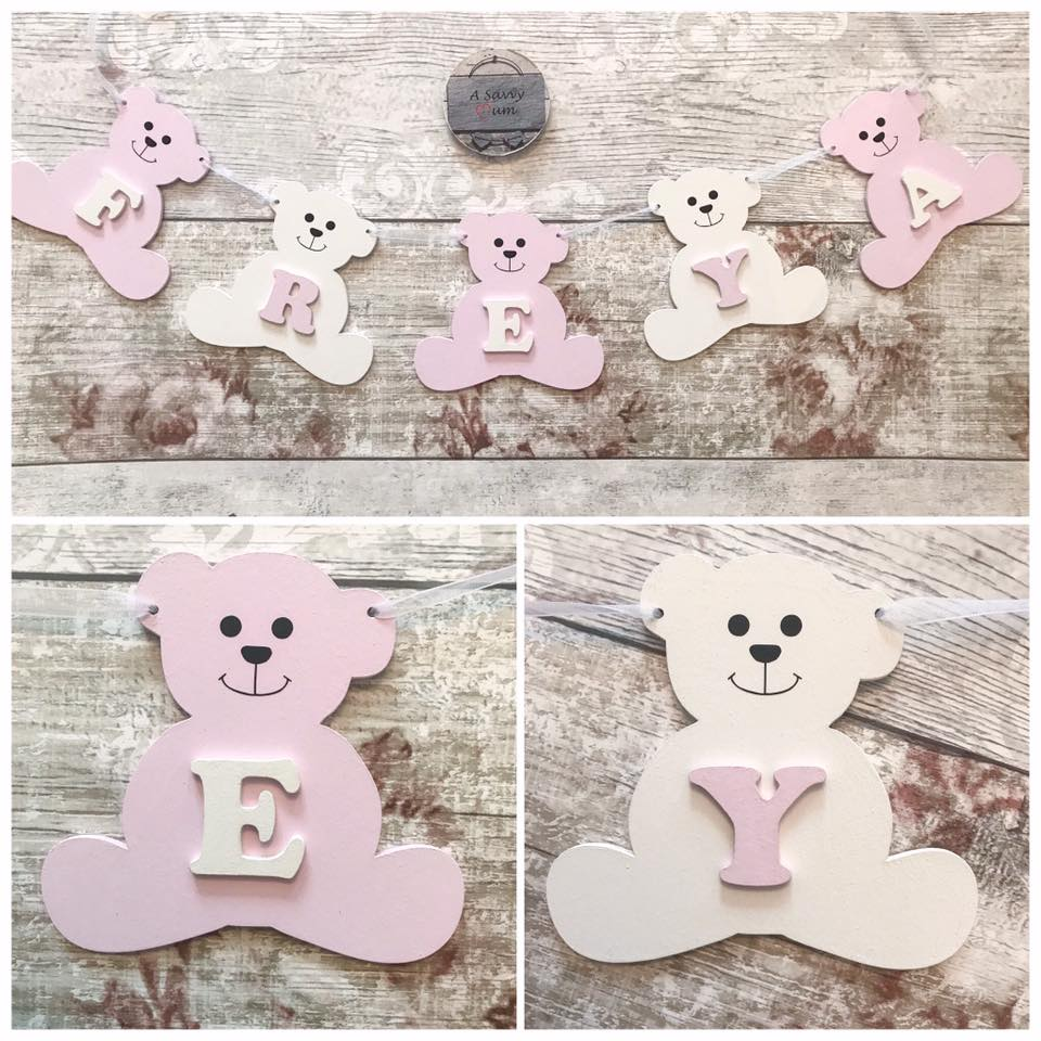 Wooden Teddy Bear Bunting