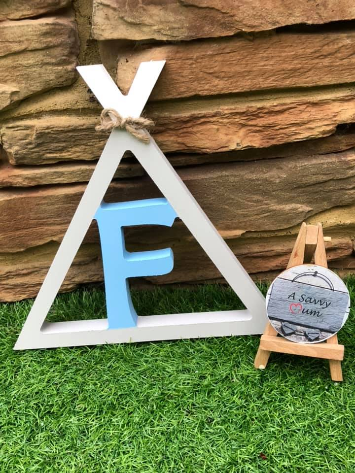 Teepee Initial Letter Door Sign