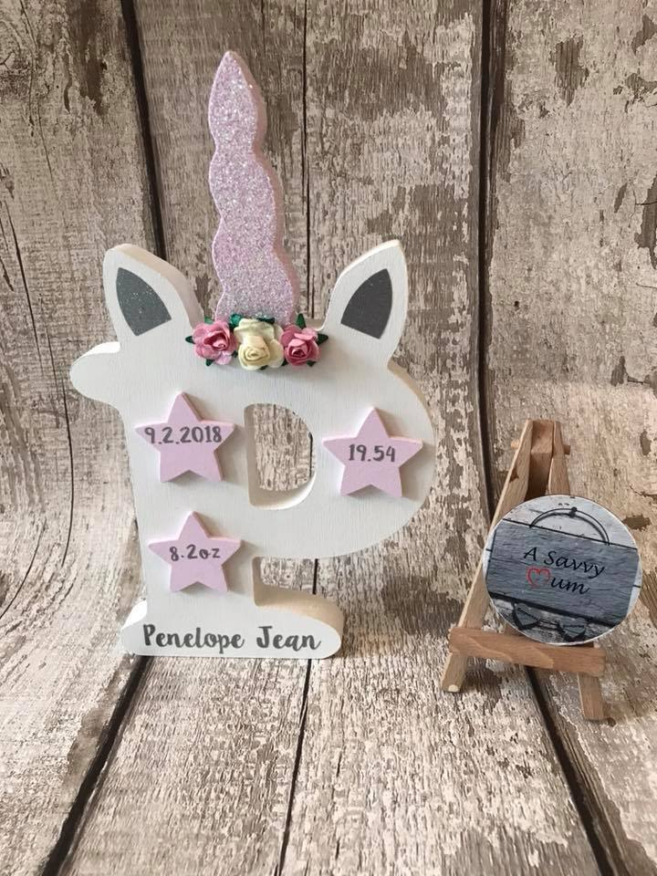 Freestanding Unicorn Birth Details Letter